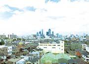 マンションの屋上からの景色