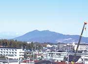 屋上から見える筑波山