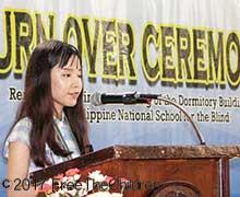盲学校の寮の竣工式でのスピーチ
