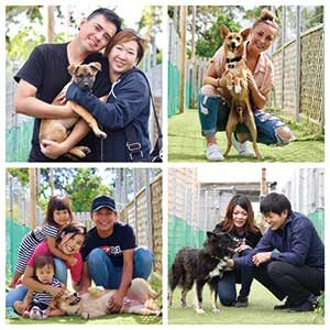 ハッピーテイルズを卒業した保護犬と里親との家族写真