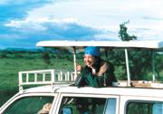タンザニアにてヌーの大群を観察中