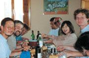 巡礼中に出会った仲間と夕食のひととき