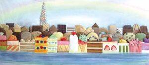 「ケーキな街」(額装作品)。ケーキを海辺の街並みに見立て