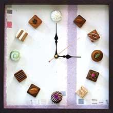 「ショコラ時計」(額装作品で実用時計)