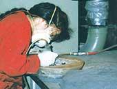 1999年、カナダに留学していたころ。化石の剖出作業中