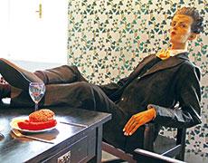 シーレのアトリエでの等身大シーレ人形