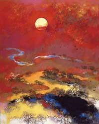 『釧路湿原』(91×73㎝)。1987年に釧路湿原が国立公園に指定された時のポスター原画に選ばれた