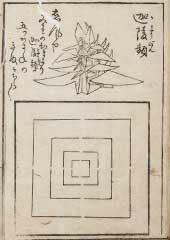『秘伝千羽鶴折形』に掲載された「迦陵頻」(桑名市博物館蔵)