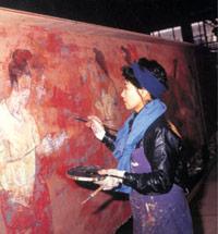 日中合弁ホテル(西安)「唐華賓館」 壁画 『二都花宴図』制作中