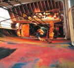 客船「飛鳥 壁画『季の奏』制作中1991年