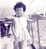 5才。瀬戸内海を渡るフェリーにて