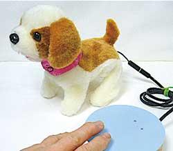 おもちゃに外部スイッチ端子をつけてスイッチで動かします