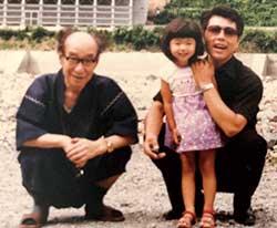 佐藤先生と父と河原で