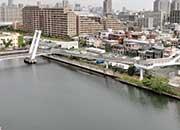 マンションの前を流れる汐見運河